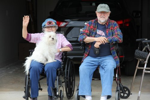 Spirit Day #3 Patriotic Car Parade. Relatives, Health Businesses, Community Volunteers and Employees lined up for a Red, White, and Blue decorated Car Parade for all of the Primrose Residents!