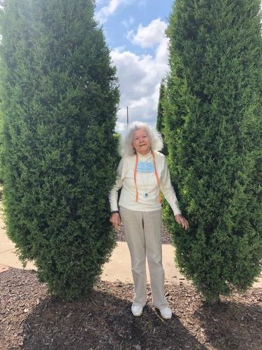 Maria enjoyed some fresh air and seeing the pretty scenery at Orchard's Park on one of our short resident bus excursions!