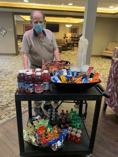Walter couldn't wait for the Hydration/Snack cart to come by to choose from healthy and fun drinks and snacks! Residents are also brought items from an Activity sheet at their request! Primrose Room Service at its best!