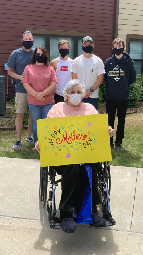 Our lovely resident, Marilyn's family came to visit for Mother's Day! This will definitely be a Mother's Day our residents, families, and staff won't ever forget!
