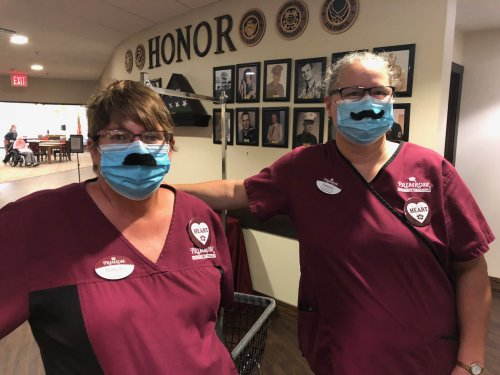 Our awesome Primrose housekeepers gave the residents a good laugh when they wore Monday Mask Mustaches!