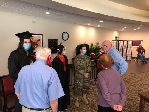 Spirit Week Day #5 School Spirit Day/Honoring our 2020 Senior Graduates. Residents and Staff turned in their Senior High School photo for a display for all to see. Residents gave Words of Wisdom to our 2020 High School Graduates at Primrose and got to hear about all 5 graduates and wish them well over cake!