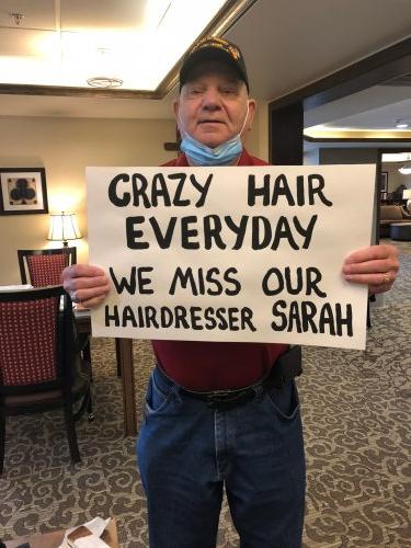 Spirit Week Day #4 Crazy Hair Day! Residents miss our hairdresser, Sarah so much that we did crazy hairstyles and signed a Welcome Back sign for her return!