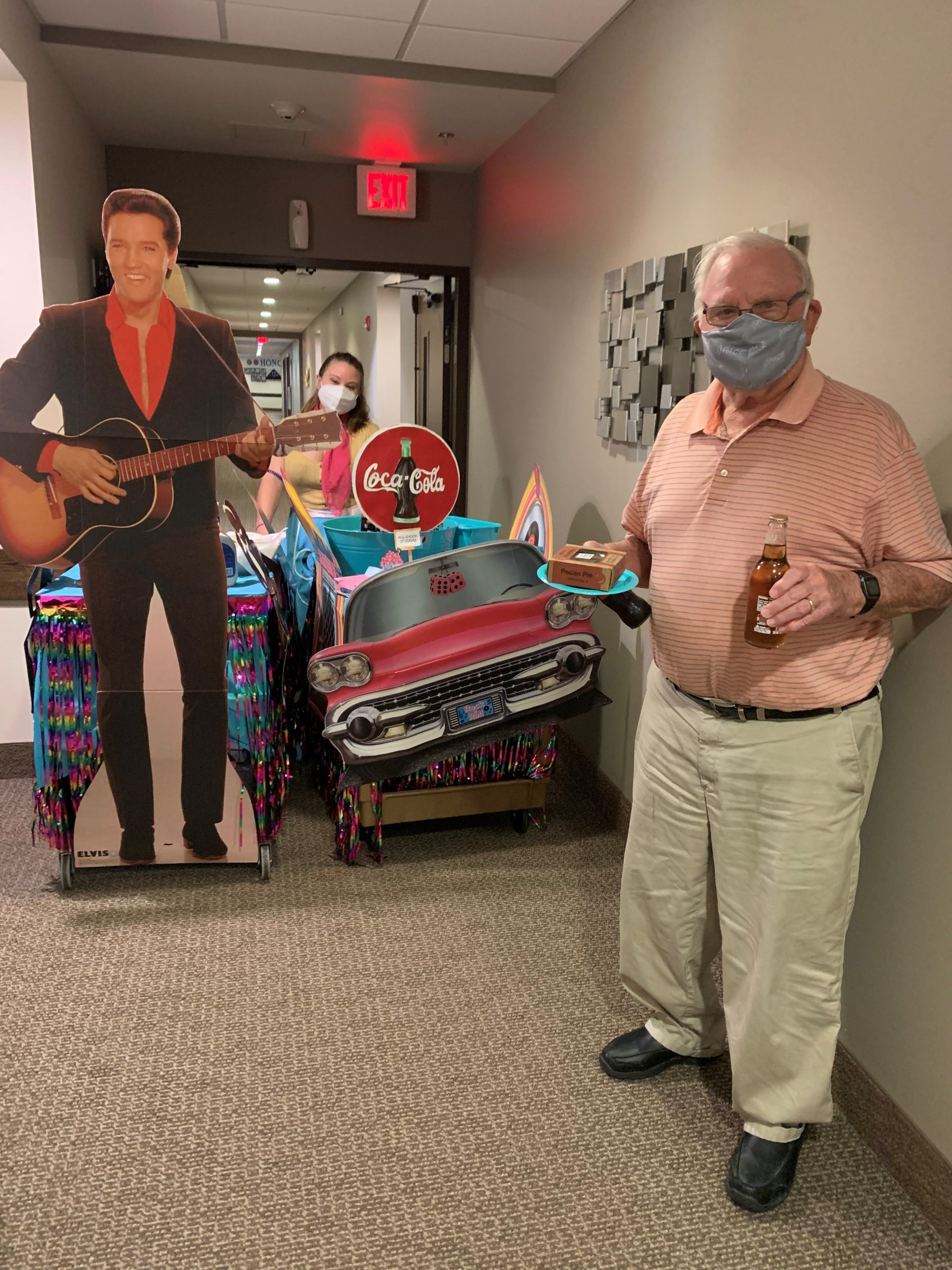 Wayne was so excited when she opened her door to this week's mystery cart- Elvis Presley Themed! Residents danced to his music and tried some of his favorite foods- Peanut Butter and Banana Sandwiches, Monkeybread, and Fried Pickles!