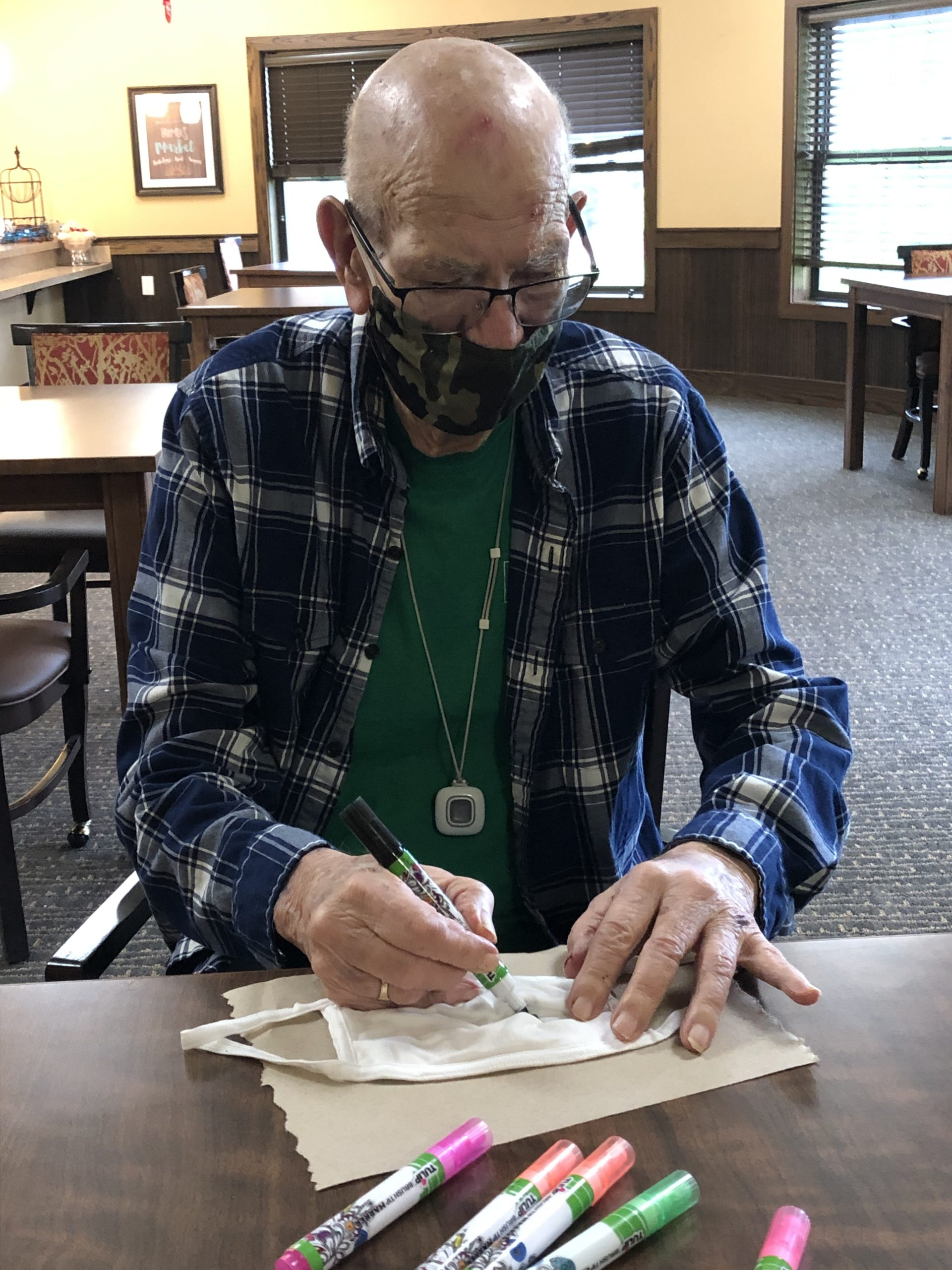 Personalizing our masks makes them much more fun to wear! Bill enjoyed decorating his.