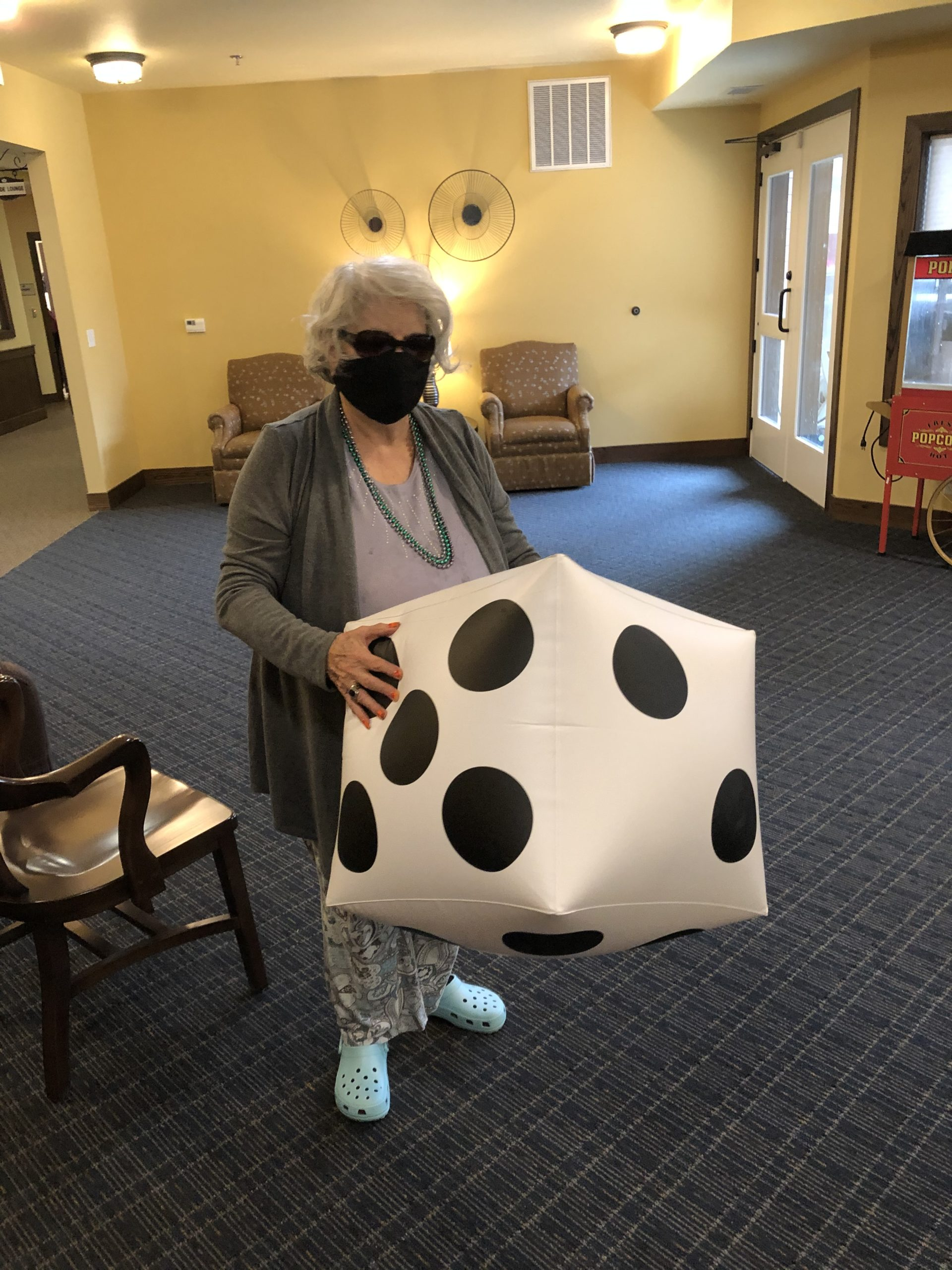 Fun and Games with Clara! Rolling a big dice is much more fun than the small dice.