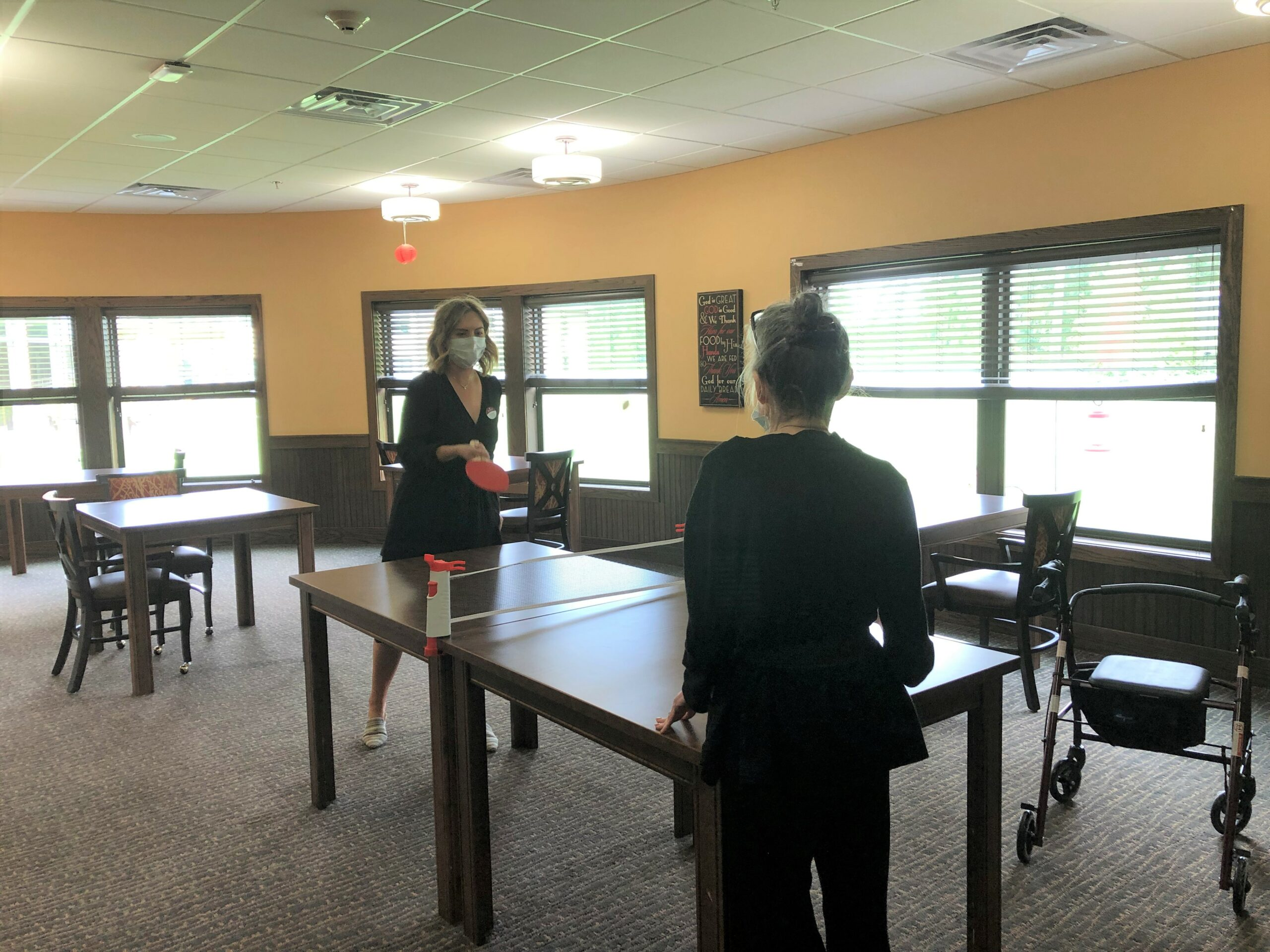Martha loves playing table tennis with LEC Melissa. It's a great way to exercise together from six feet away!