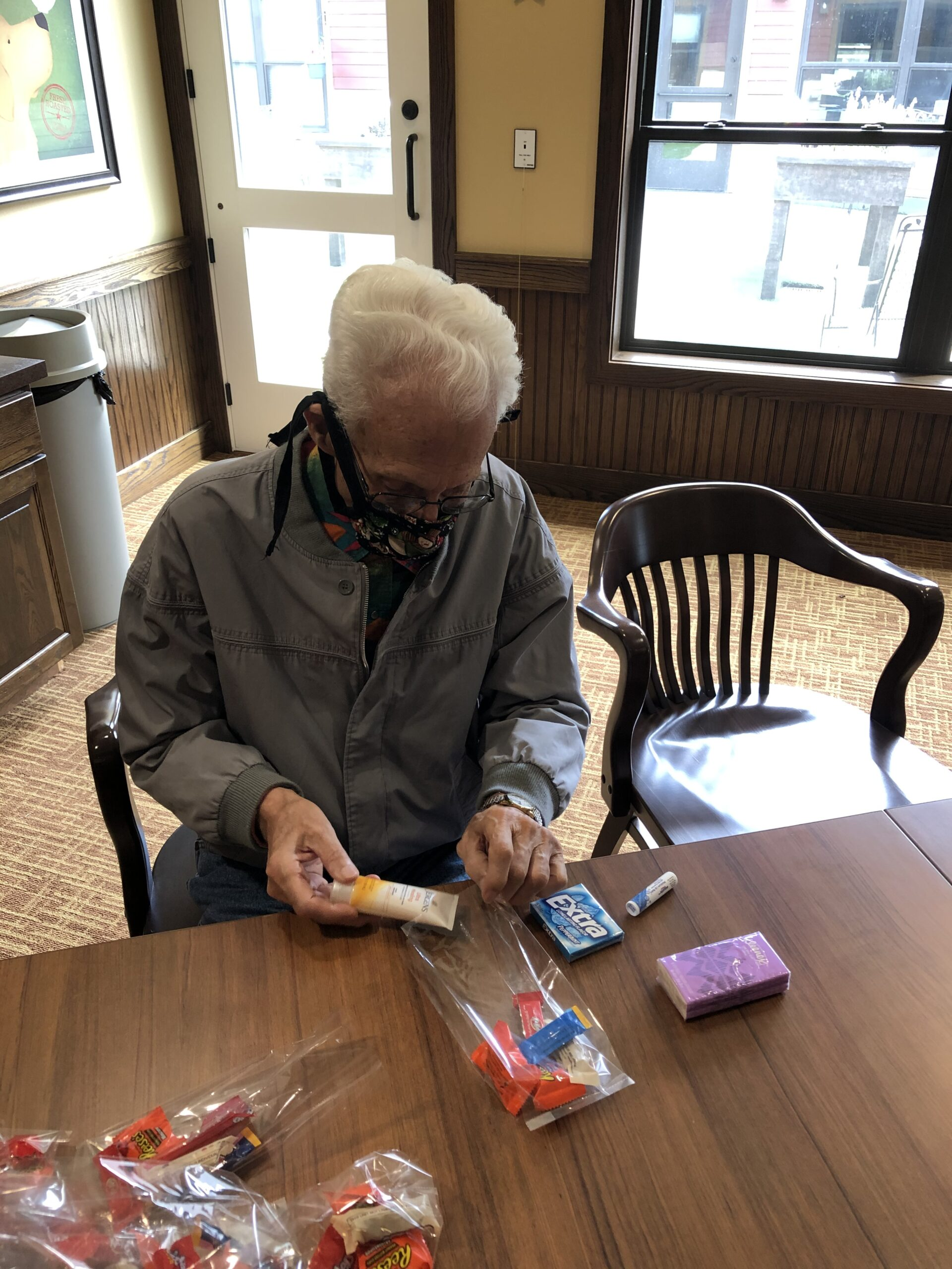 Caring is EssentiAL! For assisted living week, residents made care packages for our Memory Care staff. Lyle sure was helpful!
