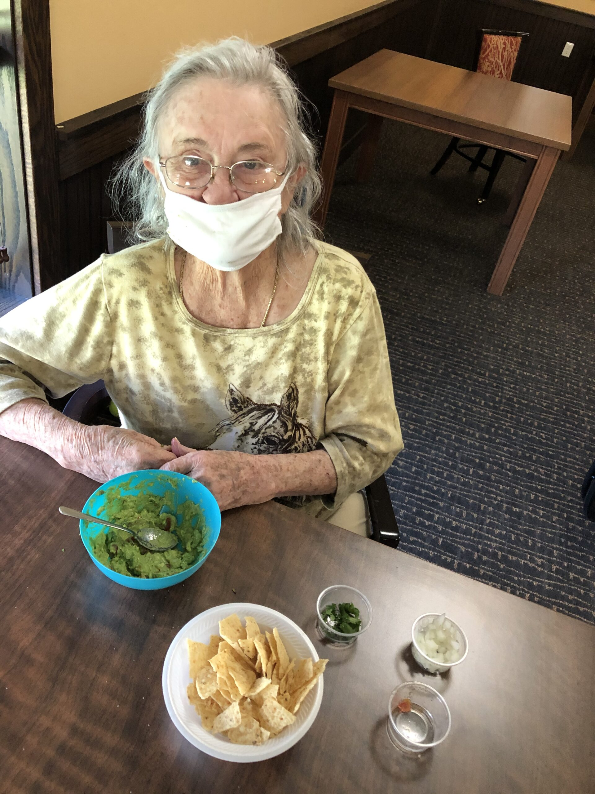 For cooking class this week we made Guacamole! Mary-Lee was very excited to dig into her creation.