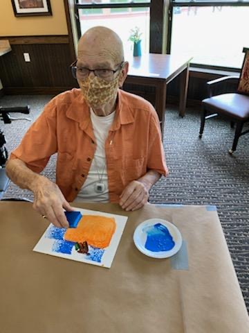 Fall Pumpkin Painting to Kick off the Fall Season! Bill made the perfect square pumpkin.