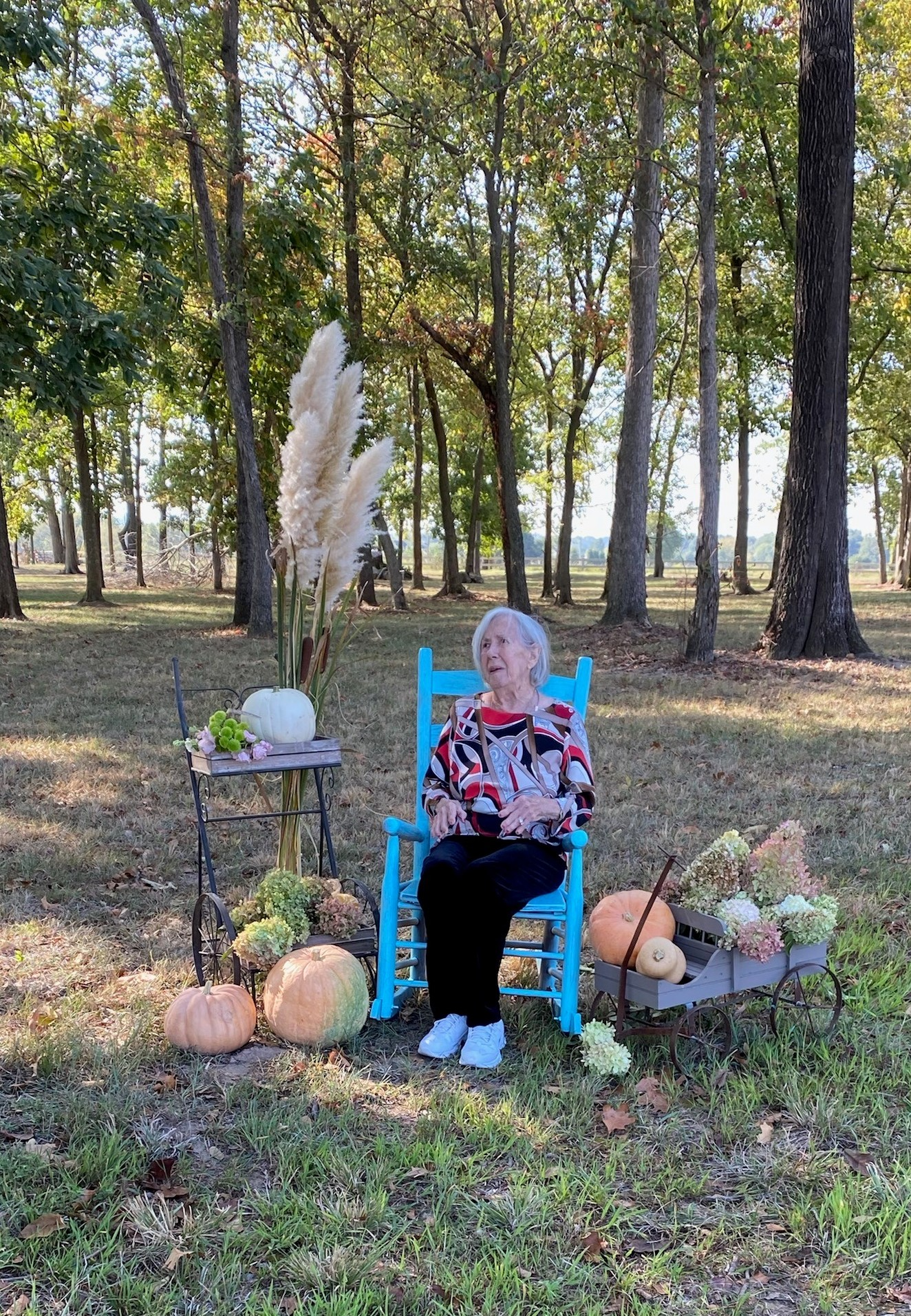 Resident Autumn Themed Portraits- Circle of Life Hospice set up a Autumn Themed Backdrop for all Residents to have their portraits made against our Primrose Wooded Area!