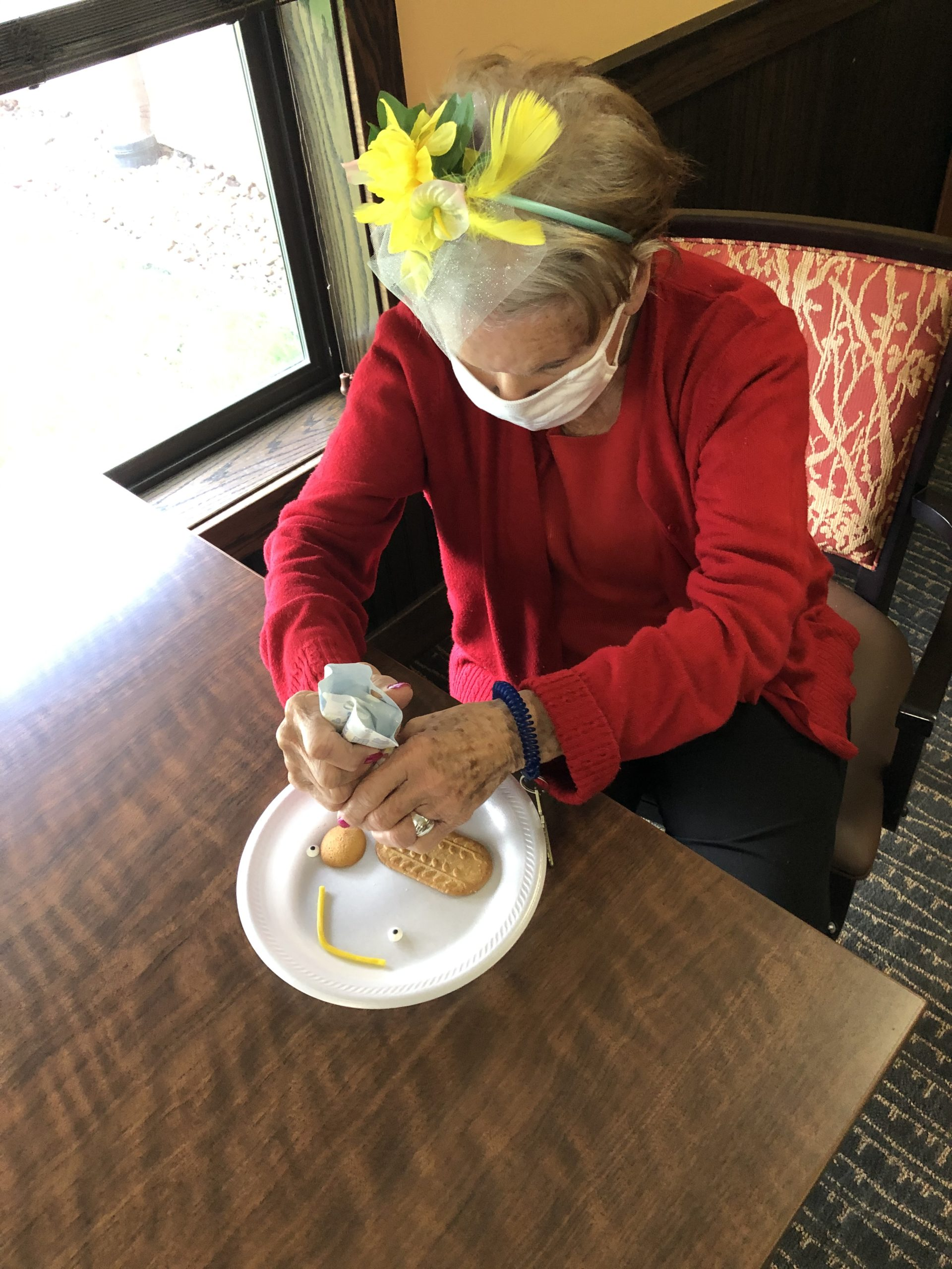 The first step to making our horse cookies was for Ann to attach the nose!