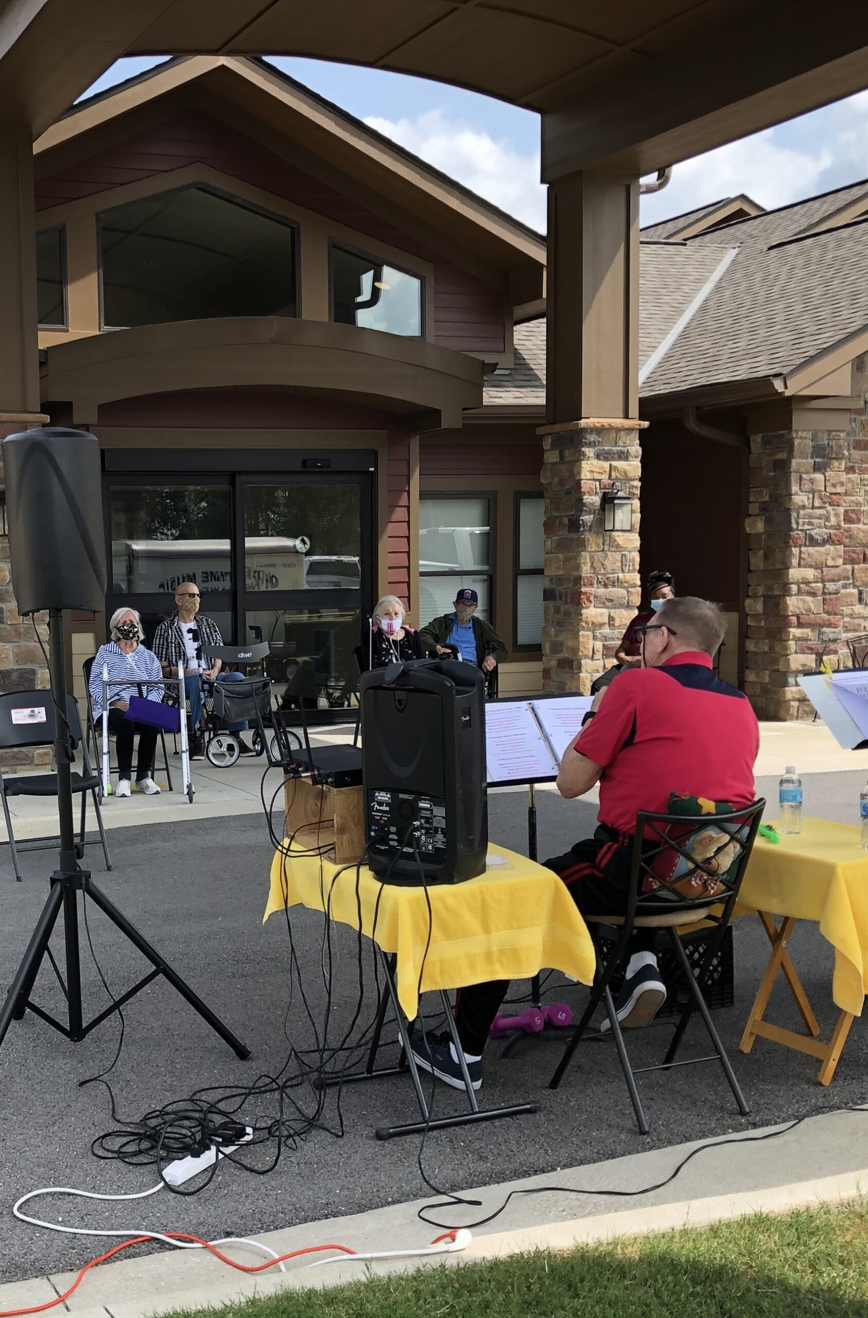 When our musicians can't come in-we go to them! Masked up and distanced, residents sure loved hearing their favorite musicians again.