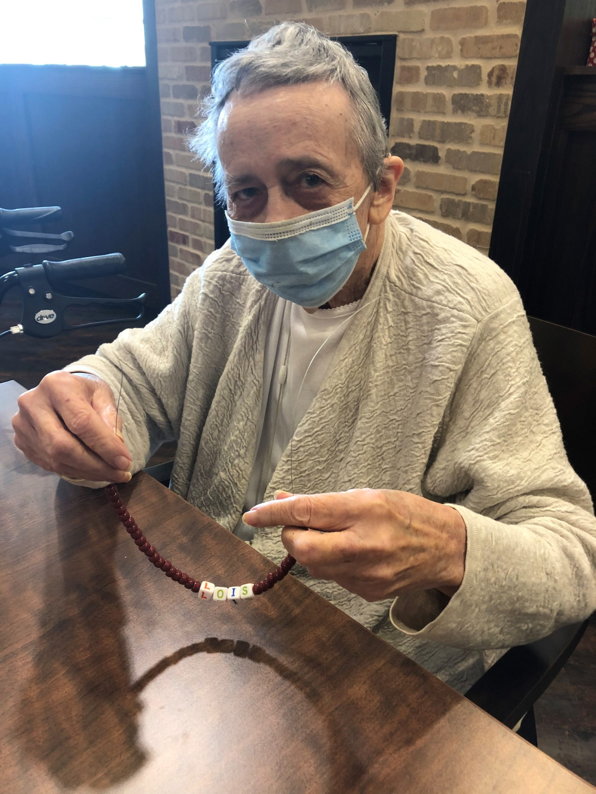 For our first September Craft Club project residents created beaded lanyards to attach to their facemasks so they won't lose them! Lois decided to spell out her name on her lanyard!