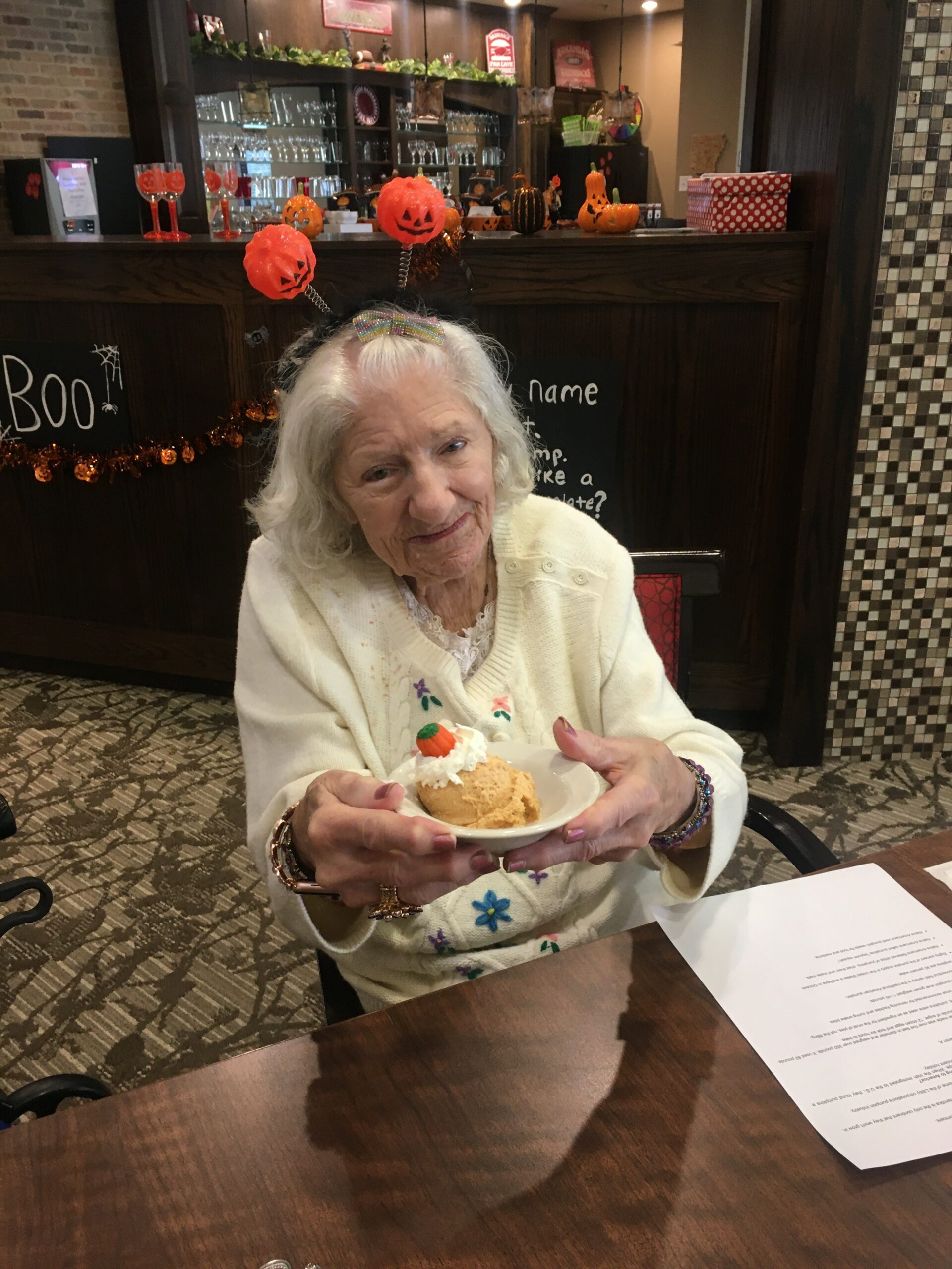 Primrose Pumpkin Everything Luncheon- Liz shows off her Pumpkin Mousse at the Primrose Pumpkin Everything Luncheon. Residents enjoyed Pumpkin Spice Coffee, Pumpkin Mousse, Pumpkin Spice Rolls, Pumpkin Face Pies, and More!
