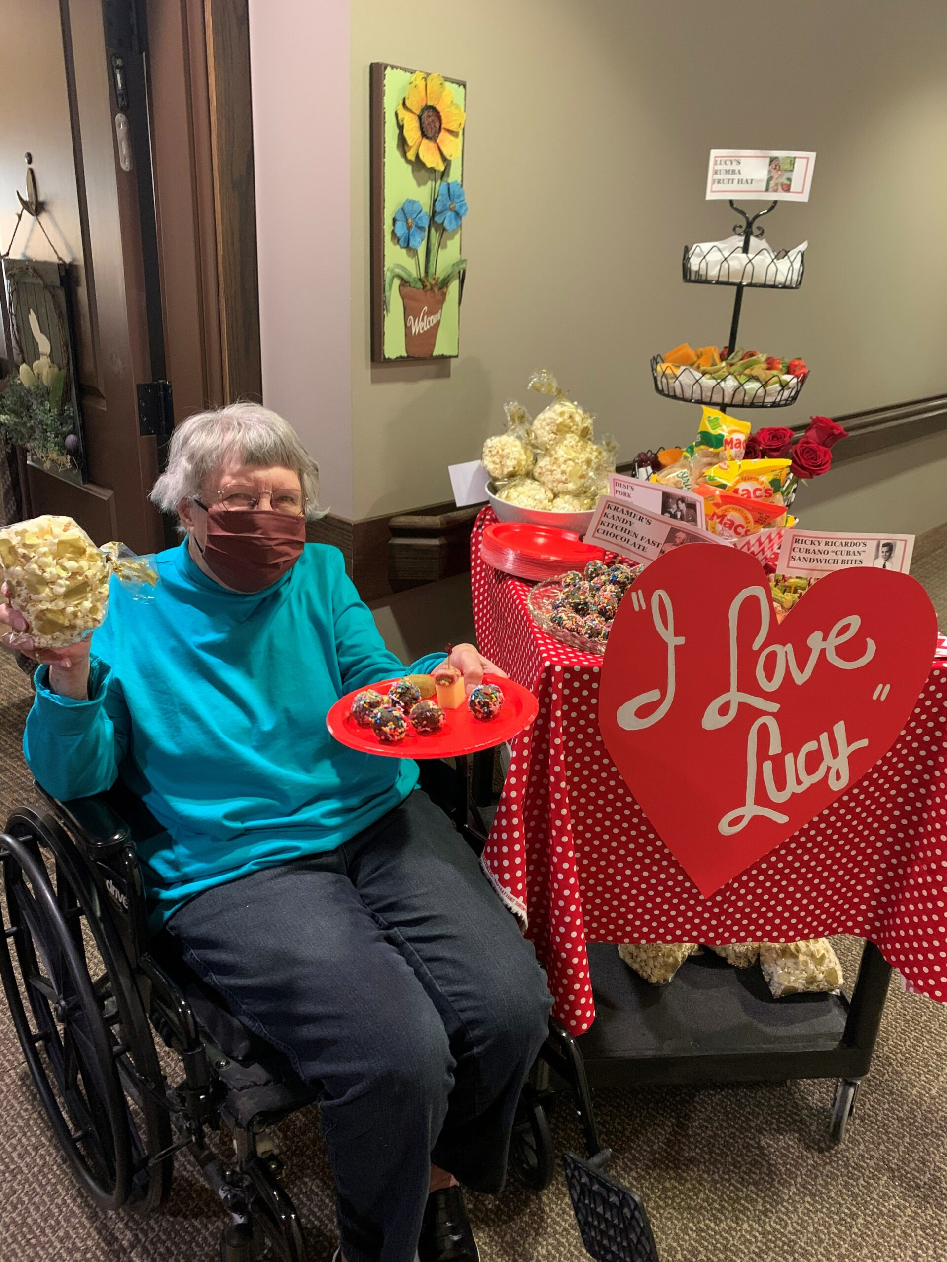 I Love Lucy Day Cart- Residents were surprised when a cart of treats and drinks showed up at their door on I Love Lucy Day! They had I Love Loosey Cocktails, Ricky's Cuba Libre's and Cuban Sandwiches, Kramer's Kandy Chocolates, Lucy's Rumba Fruit Hat and More!