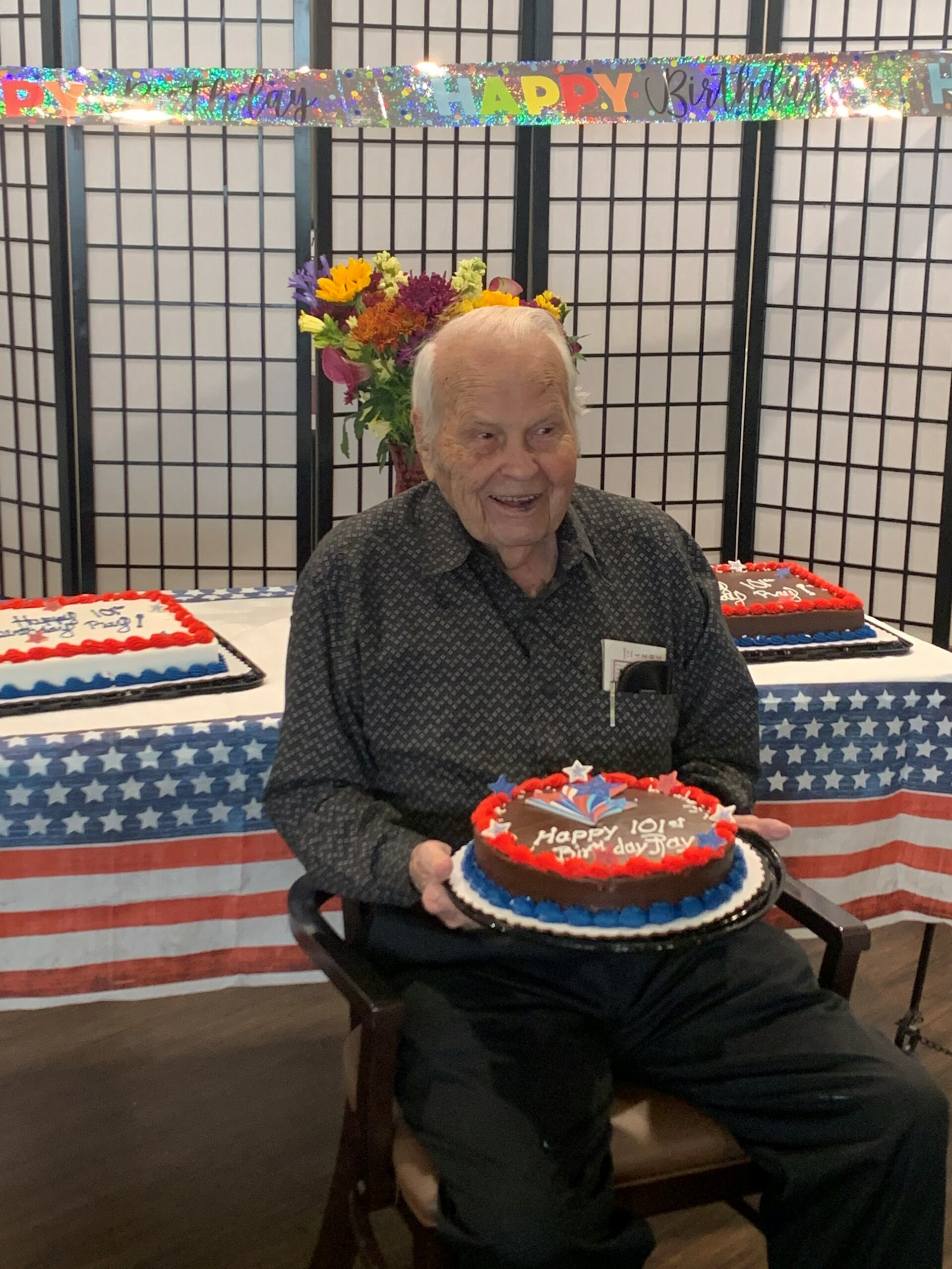 Ray's 101st Birthday!- Today we celebrated the 101st birthday of one of our beloved veterans, Ray by having a patriotic luncheon followed by Ray being presented a Quilt of Valor from the Bella Vista Calico Cut-Ups Quilting Group for his service. Residents, Staff, Family Members and the local new stations cheered as we honored a former POW and very special friend of ours long and joyful life!
