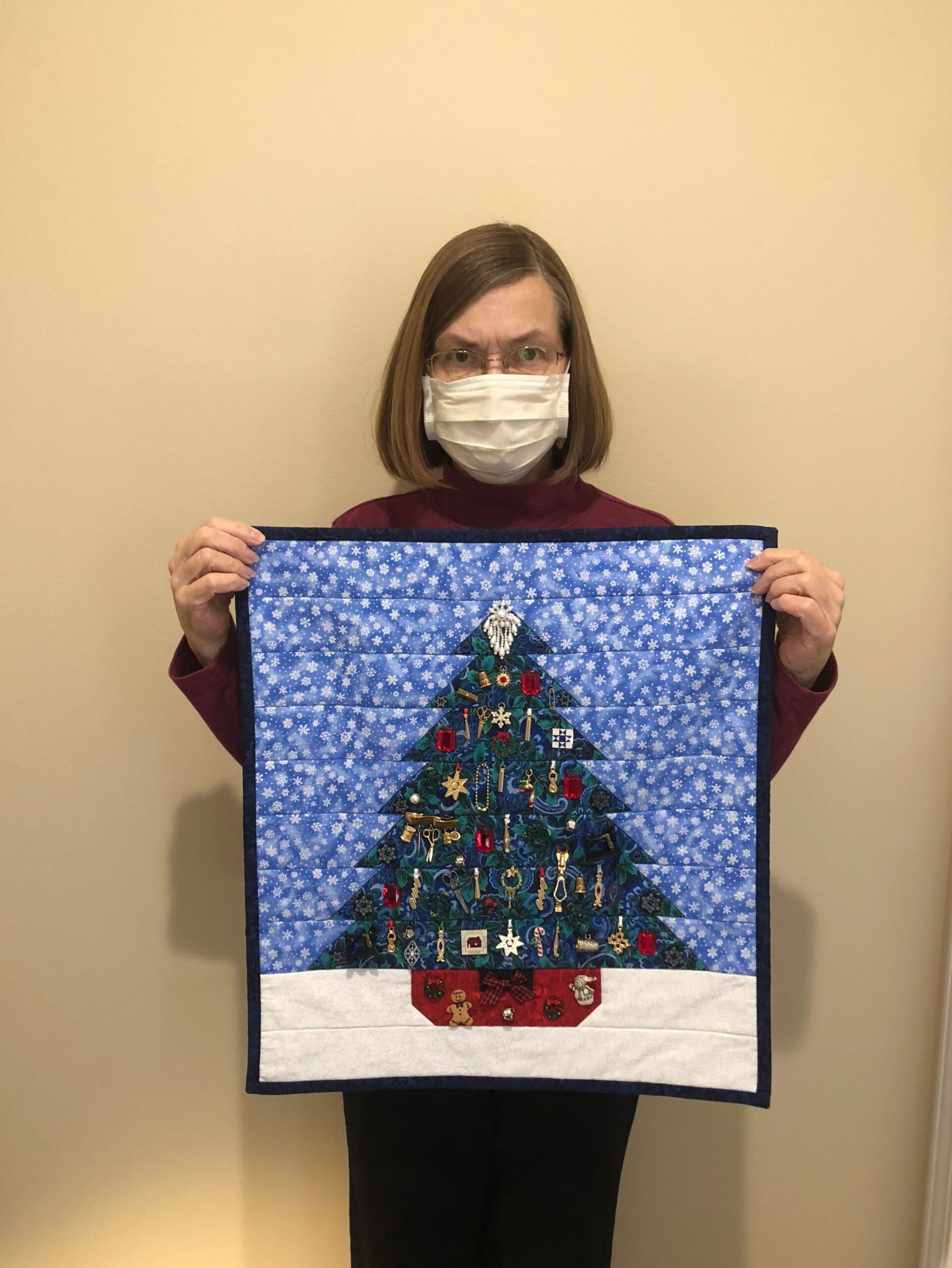 Nancy's Christmas Tree Craft- Nancy made a darling Christmas tree with sewn on ornaments, bows, and trinkets! She is one of our talented residents who has made many quilts and wanted to show off her latest masterpiece!