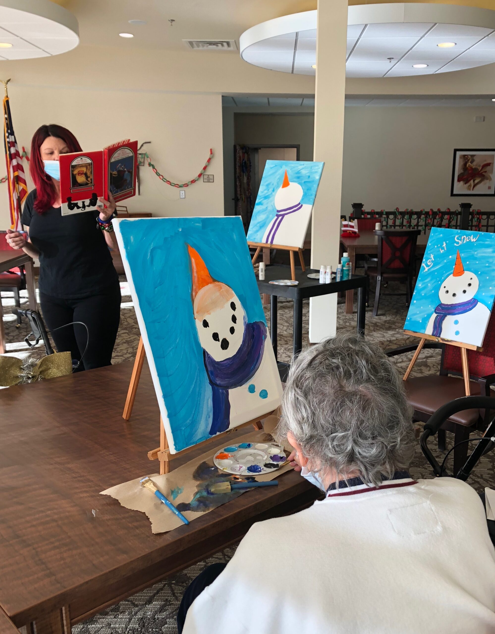 Snowman Painting Class- Our Primrose Bus Driver, Valerie led a Snowman painting class and read the famous story, 'Twas the Night Before Christmas!