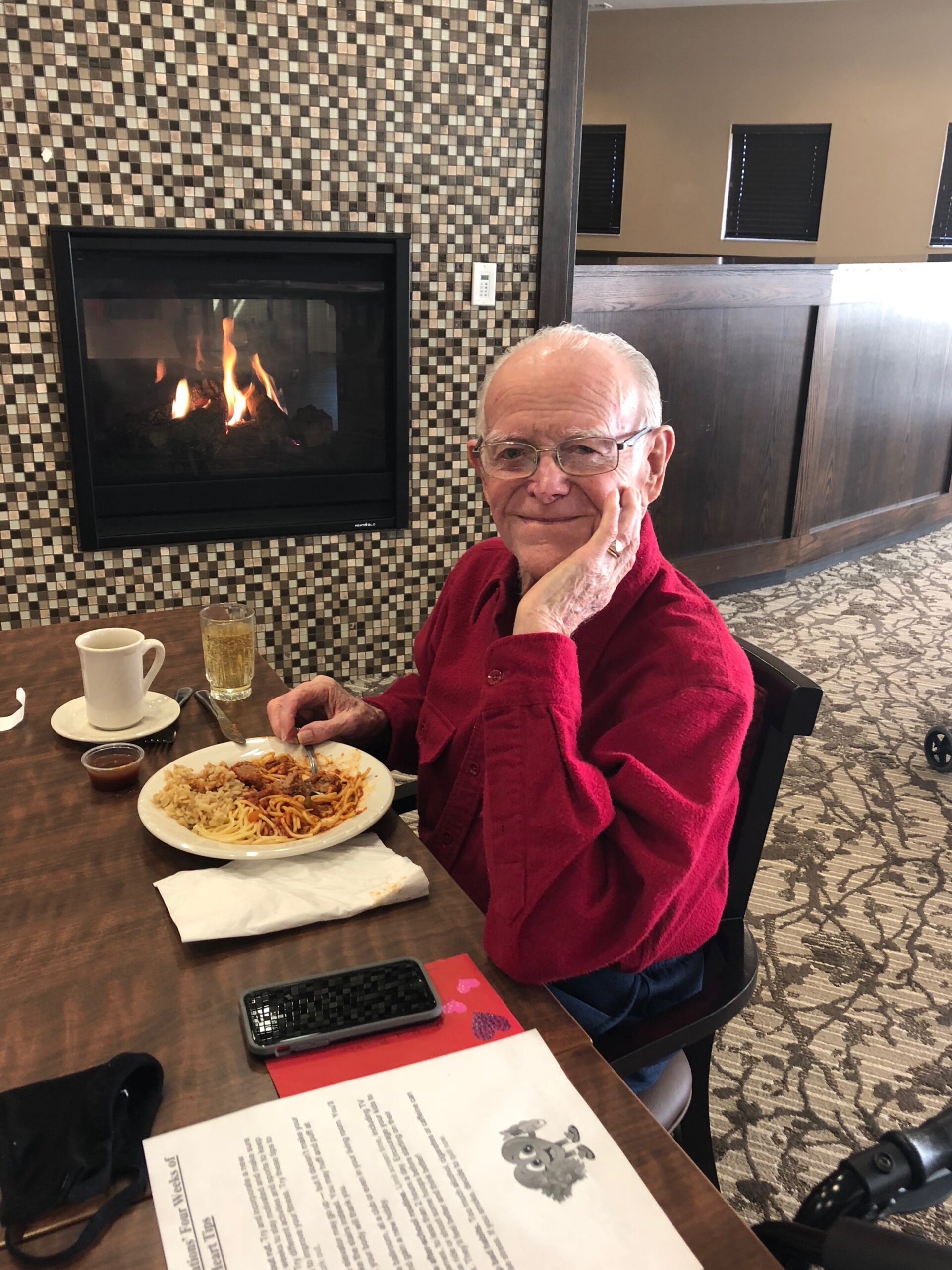 Celebrating Heart Healthy Month- Residents wore the color Red to lunch on Friday, February 5th to raise awareness of being heart healthy! Bud found the heart healthy tips the residents received just lovely!