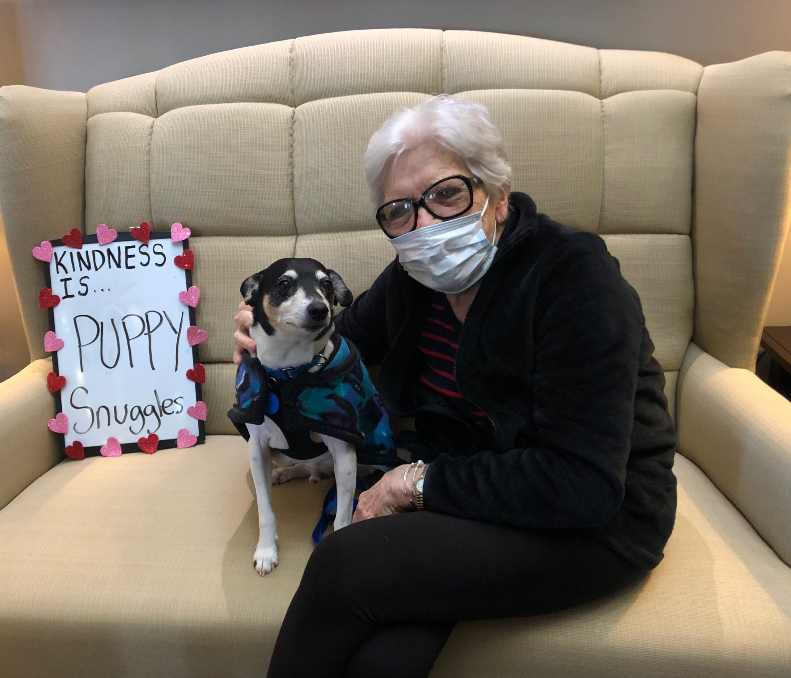 Random Acts of Kindness Day- In celebration of Random Acts of Kindness Day residents and staff told what kindness meant to them- For Marilyn it was the Puppy Love, Snuggles and Kisses!