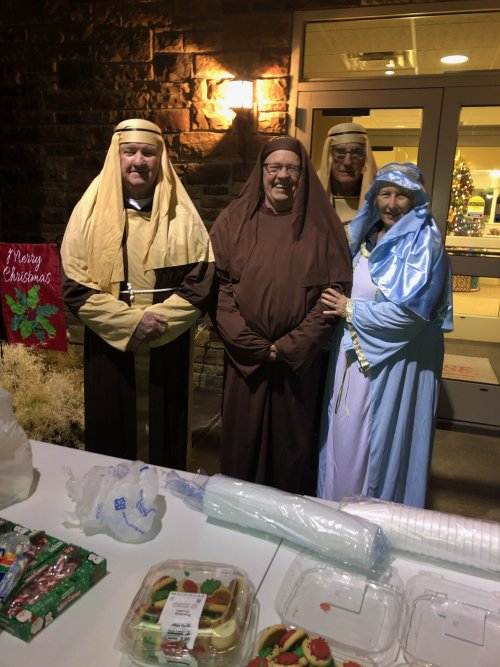Mary, Joseph and the Wisemen getting ready for our live Nativity!