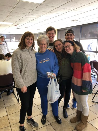 Shawnee resident, Teresa passing out goody bags to Oklahoma Baptist University students for Random Act of Kindness Day!