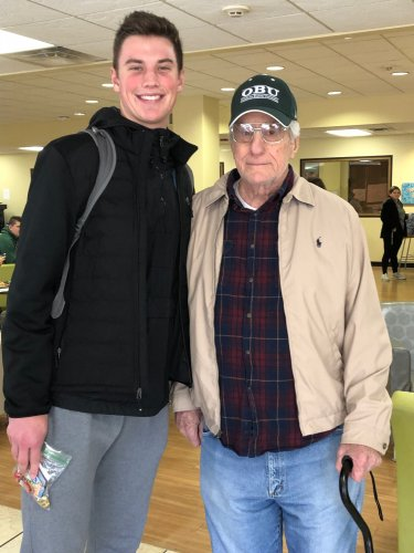Shawnee resident, Bill with an Oklahoma Baptist University Student taking part in our Random Act of Kindness Day!