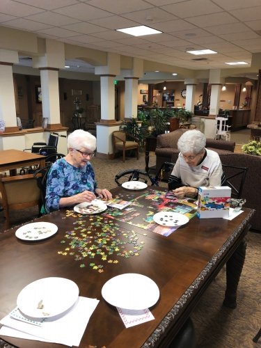 Marie and Katherine love to work on puzzles!