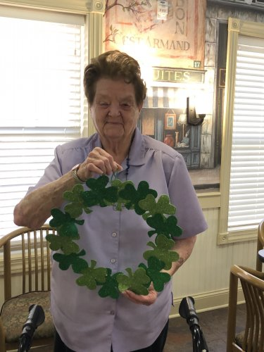 Debbie showing off her St Patrick's Day craft