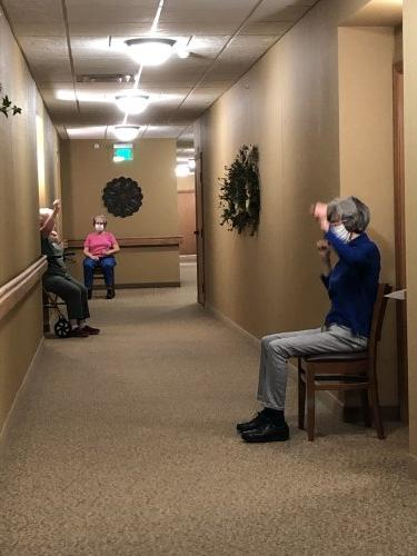 Residents getting a little exercise in the hallway.
