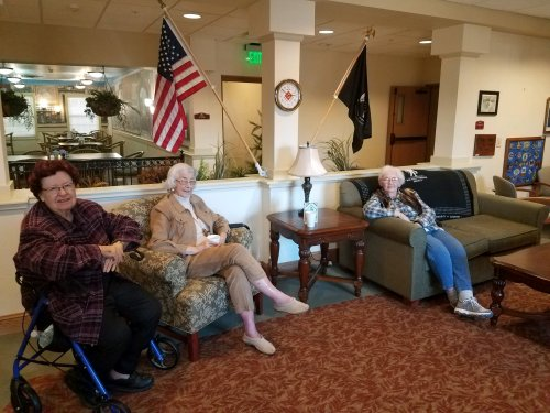 Residents socializing in our Veterans Lounge