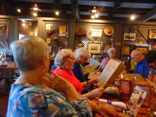 Getting ready to order from Cracker Barrel menu.