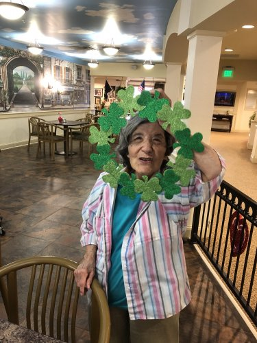 Kathyaleen showing off her St Patrick's Day craft