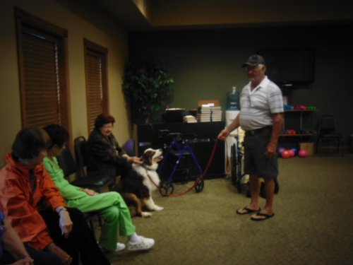 Beau and Friends visit. A dog named Beau shows off his skills.