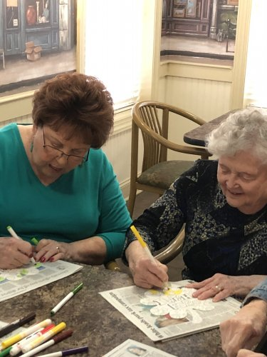 Janet and Delores having fun doing crafts!