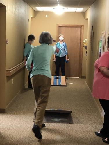 Some of our residents playing cornhole