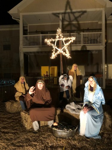 Residents, Staff and Family Members made up our Nativity Scene