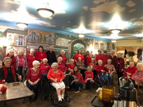 Residents and Staff on National Wear Red Day!