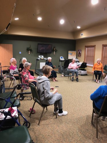 Having fun with chair exercise