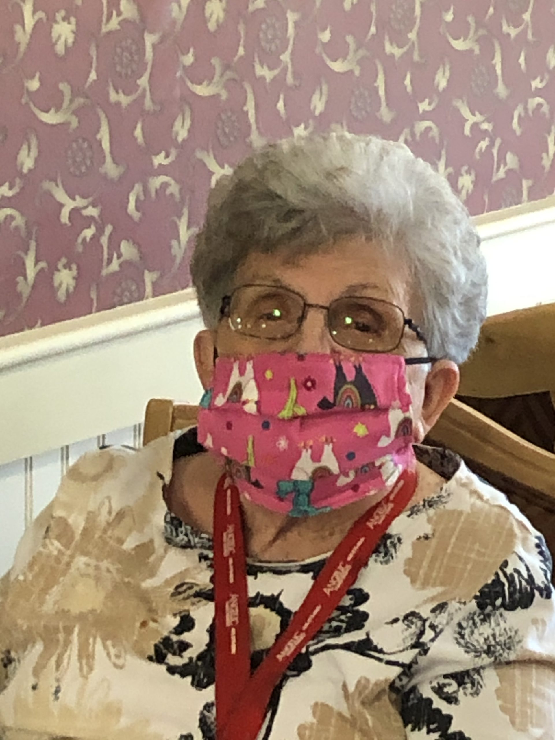Patsy sporting her mask!