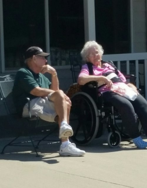 Carol and her husband enjoying some time outside on a beautiful day!
