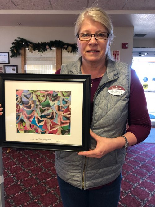 Lou Clarey was honored with art work from the staff and residents for National Professional Activities Week!  The art is hearts made from their hands.