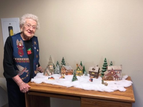 Dee is very proud of her ceramic Christmas village.  She made it over 25 years ago and sets it out every Christmas!