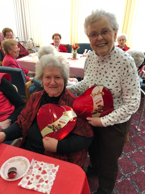 Rose Marie & Beverly were the winners of the Valentine Chocolates!
