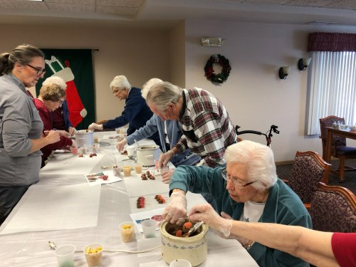 Residents busy making Christmas candy!