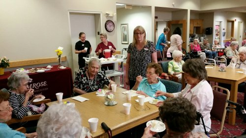 Resident's enjoying a reception party in honor of Lou being chosen Primrose Employee of the year!