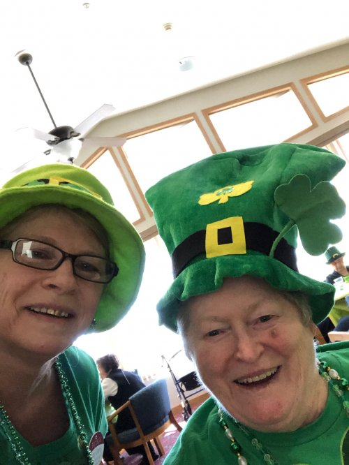 Ursie and Lou celebrating St. Patty's Day with their fun hats!