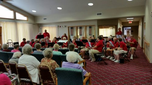 The residents enjoyed listening to the New Horizon Band.  It was a great concert!