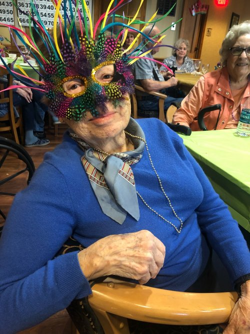 Dorothy enjoying the Mardi Gras party!
